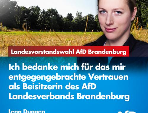 Vielen Dank für meine Wahl als Beisitzerin des Landesvorstands der AfD Brandenburg