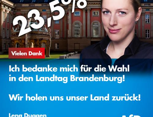 Ich bedanke mich für die Wahl in den Landtag Brandenburg