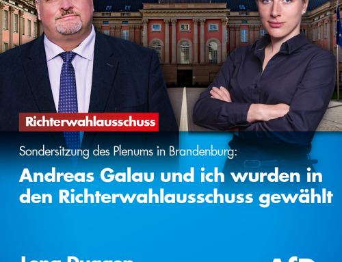 Sondersitzung des brandenburgischen Plenums: Andreas Galau und Lena Duggen in den Richterwahlausschuss gewählt