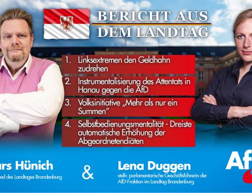 Bericht aus dem Landtag Brandenburg mit Lena Duggen und Lars Hünich