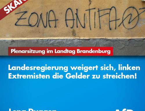 Skandal im Landtag Brandenburg: Landesregierung weigert sich Linksextremisten die gelder zu streichen