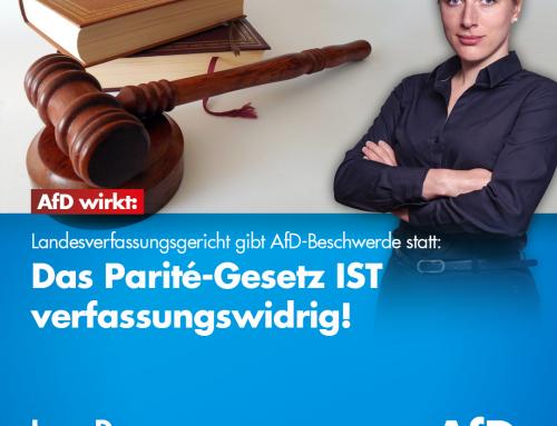 AfD wirkt: Landesverfassungsgericht Brandenburg gibt AfD-Beschwerde statt: Das Parité-Gesetz IST verfassungswidrig